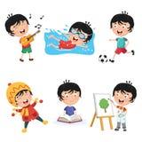 Ejemplo del vector de las actividades rutinarias diarias de los niños ilustración del vector
