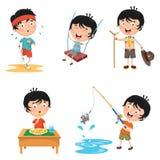 Ejemplo del vector de las actividades rutinarias diarias de los niños stock de ilustración