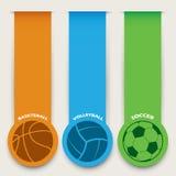 Banderas de las bolas del deporte Foto de archivo