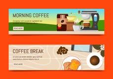 Ejemplo del vector de las banderas de la cafetería Café de la mañana Café orgánico Siempre fresco y natural Descanso para tomar c stock de ilustración