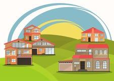 Ejemplo del vector de las casas coloridas de la historieta linda para la venta o el alquiler Ejemplo plano de los edificios del v Foto de archivo libre de regalías