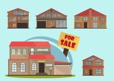 Ejemplo del vector de las casas coloridas de la historieta linda para la venta o el alquiler Ejemplo plano de los edificios del v Fotos de archivo