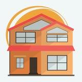 Ejemplo del vector de las casas coloridas de la historieta linda para la venta o el alquiler Ejemplo plano de los edificios del v Imagen de archivo