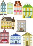 Ejemplo del vector de las casas urbanas aisladas Imagen de archivo