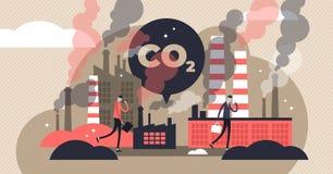 Ejemplo del vector de las emisiones de CO2 Concepto minúsculo plano de las personas de la contaminación atmosférica ilustración del vector