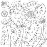 Ejemplo del vector de las flores del garabato para el libro de colorear fotos de archivo