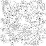 Ejemplo del vector de las flores del garabato para el libro de colorear fotografía de archivo libre de regalías
