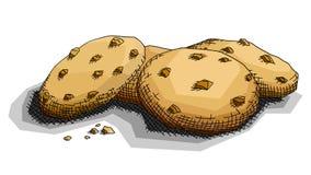 Ejemplo del vector de las galletas del chocolate del dibujo Imagen de archivo