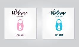 Ejemplo del vector de las invitaciones de una fiesta de bienvenida al bebé Imagen de archivo libre de regalías