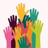 Embroma las manos coloridas Fotos de archivo libres de regalías