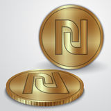 Ejemplo del vector de las monedas de oro con el israelí Imagenes de archivo