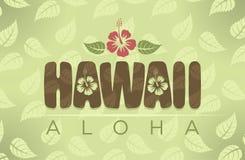 Ejemplo del vector de las palabras de Hawaii y de la hawaiana Imagen de archivo
