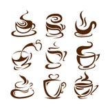 Ejemplo del vector de las tazas de café En el fondo blanco label menú ilustración del vector