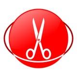 Ejemplo del vector de las tijeras, icono rojo Foto de archivo libre de regalías
