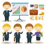 Ejemplo del vector de los caracteres del hombre de negocios y de la empresaria Imágenes de archivo libres de regalías