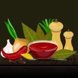 Ejemplo del vector de los condimentos y de las especias Foto de archivo libre de regalías