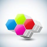 Ejemplo del vector de los cubos 3d Imagen de archivo libre de regalías
