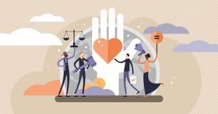 Ejemplo del vector de los derechos humanos Concepto minúsculo de las personas del igual y de la variedad libre illustration