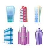 Ejemplo del vector de los edificios modernos divertidos fijados Casas y rascacielos coloridos y brillantes en la historieta compl stock de ilustración