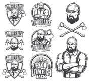 Ejemplo del vector de los emblemas del leñador Foto de archivo libre de regalías