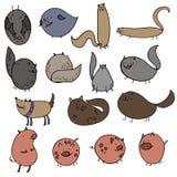 Ejemplo del vector de los garabatos del pájaro del palo del cerdo del perro del gato de la historieta stock de ilustración