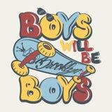 Ejemplo del vector de los gráficos de la camiseta de los muchachos del tablero del patín Imagen de archivo