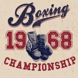 Ejemplo del vector de los guantes de boxeo del vintage Imagen de archivo libre de regalías