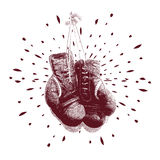 Ejemplo del vector de los guantes de boxeo del vintage Imagenes de archivo