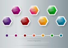 Ejemplo del vector de los hexágonos de un infographics de la cronología Stock de ilustración