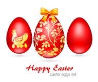 Ejemplo del vector de los huevos de Pascua rojos fijados Imagen de archivo libre de regalías