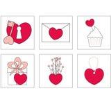 Ejemplo del vector de los iconos del amor El ideal para Valetine carda la decoración Iconos fotografía de archivo
