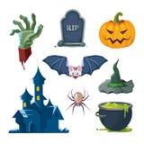 Ejemplo del vector de los iconos de Halloween fijados Foto de archivo libre de regalías