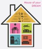 Ejemplo del vector de los iconos de la casa y de las propiedades inmobiliarias stock de ilustración