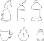 Ejemplo del vector de los iconos de los elementos de la cocina Fotografía de archivo