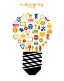 ejemplo del vector de los iconos del concepto de las E-compras Fotografía de archivo libre de regalías