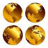 Ejemplo del vector de los iconos del globo del oro con diversos continentes Ñ-уе ilustración del vector