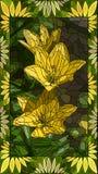 Ejemplo del vector de los lirios del amarillo del mosaico Imagen de archivo libre de regalías