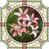 Ejemplo del vector de los lirios del rosa de la flor. Foto de archivo