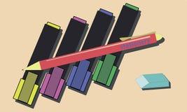 Ejemplo del vector de los marcadores del color Fotografía de archivo