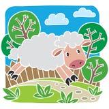Ejemplo del vector de los niños de pequeñas ovejas Fotografía de archivo libre de regalías