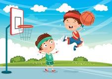 Ejemplo del vector de los niños que juegan a baloncesto Fotografía de archivo