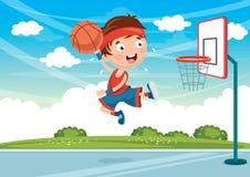 Ejemplo del vector de los niños que juegan a baloncesto Fotos de archivo