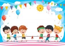 Ejemplo del vector de los niños que juegan la cuerda de tracción Fotos de archivo libres de regalías