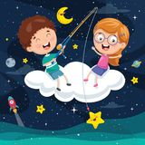 Ejemplo del vector de los niños que se sientan en la nube stock de ilustración