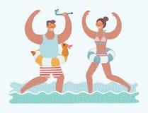 Ejemplo del vector de los pares que corren en agua de mar con la máscara del salto en sus caras y tubo del salto en el suyo manos stock de ilustración