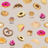 Ejemplo del vector de los pasteles en fondo gris Pretzel, mollete, torta, empanada, cruasán y bollo Modelo inconsútil Fotos de archivo