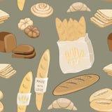 Ejemplo del vector de los productos de la panadería Rolls, pan, baquettes y cruasanes en fondo verde Modelo inconsútil Fotos de archivo