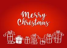 Ejemplo del vector de los regalos de la Navidad Fotos de archivo