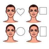 Ejemplo del vector de los tipos de la cara Fotos de archivo