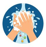 Ejemplo del vector de manos que se lavan stock de ilustración